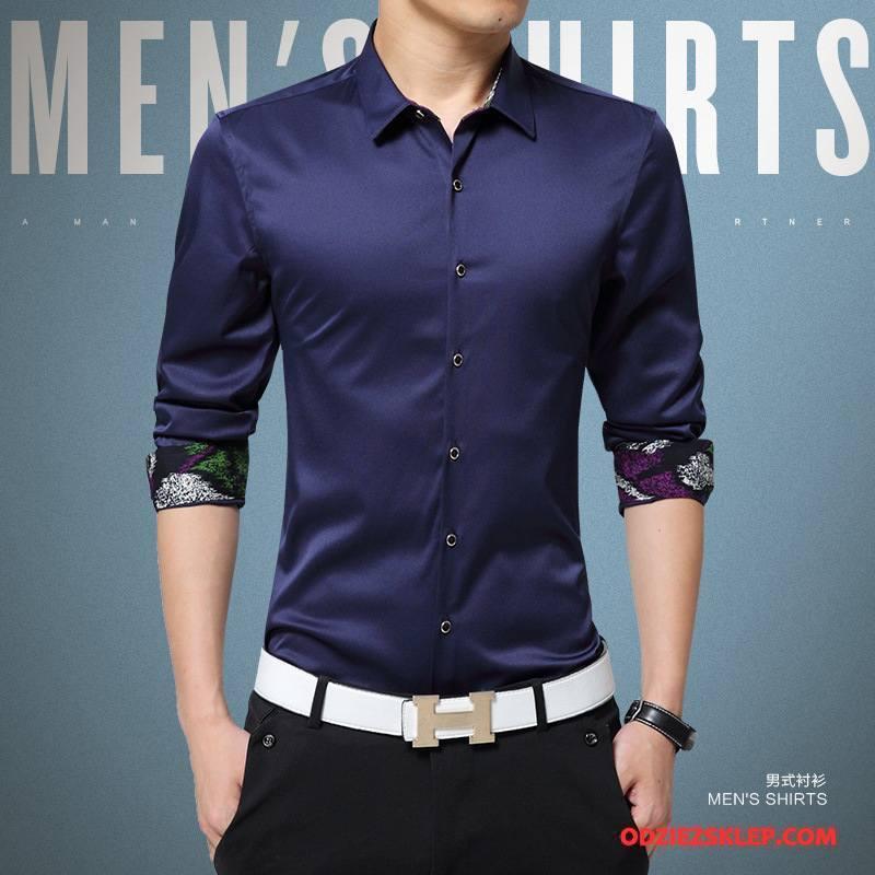 Męskie Koszula Wysoki Koniec Nowy Tendencja Długi Rękaw Sukienka Slim Fit Czysta Czerwony Sprzedam
