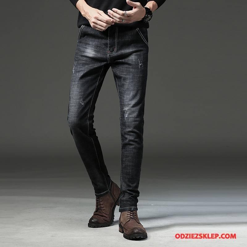 Męskie Jeansy Casual Slim Fit Spodnie Ołówkowe Spodnie Dżinsy Męska Czarny Sprzedam