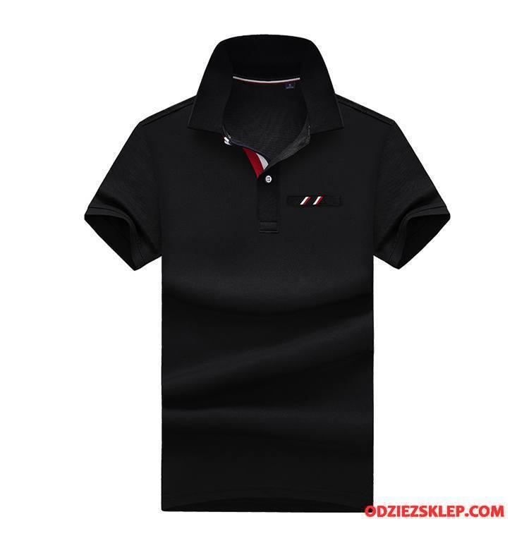 Męskie Koszulka Polo Casual Moda Modna Marka Slim Fit Klapa Nowy Biały Tanie