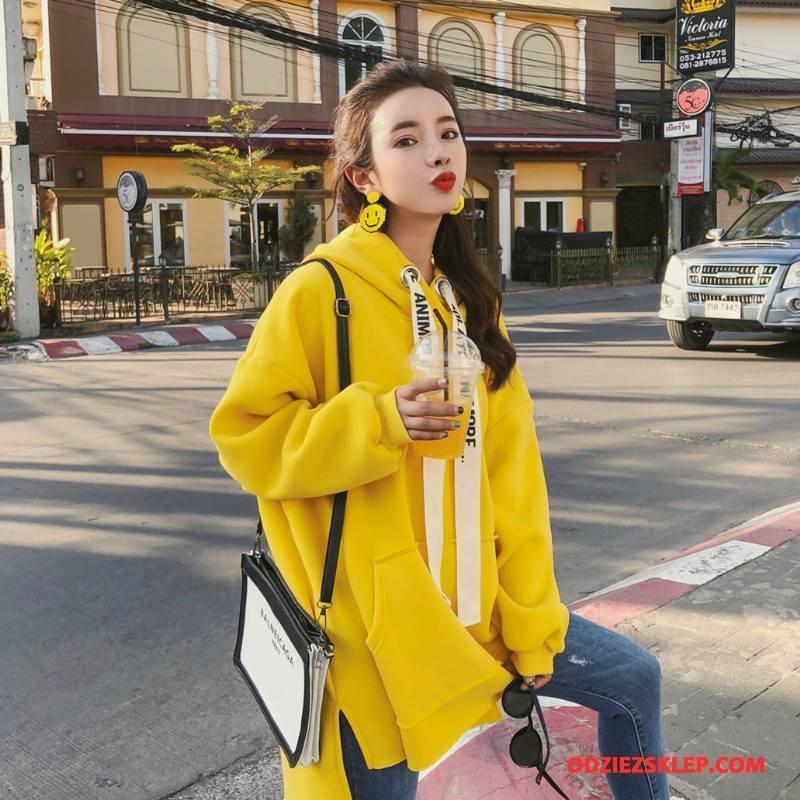 Damskie Bluza Z Kapturem Moda Casual Długi Rękaw Szerokie Slim Fit Tendencja Czysta Żółty Online