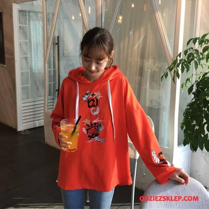 Damskie Bluza Z Kapturem Pullover Slim Fit Cienkie Moda Tendencja Casual Czysta Oranż Czerwony Tanie