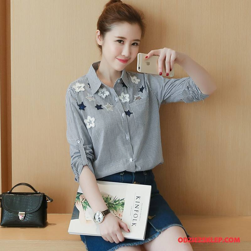 Damskie Bluzka Długi Rękaw Kwadratowy Dekolt Tendencja Eleganckie Bawełniane Moda Szary Kup