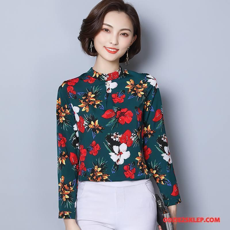 Damskie Bluzka Kwiaty Casual Koronkowe Długi Rękaw Moda Eleganckie Zielony Online
