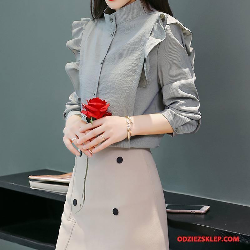 Damskie Bluzka Moda Świeży Wiosna Krótki Tendencja Długi Rękaw Szary Dyskont