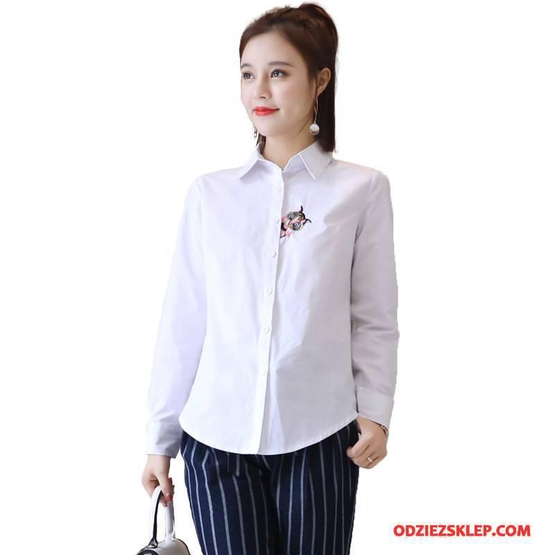 Damskie Bluzka Moda Guziki Cienkie Wiosna Slim Fit Tendencja Biały Sklep