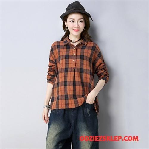 Damskie Bluzka Moda Pullover Długi Rękaw Tendencja Czyste Eleganckie Oranż Czerwony Online