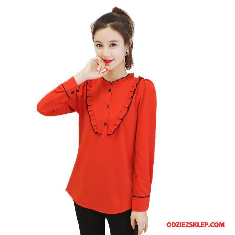 Damskie Bluzka Moda Wygodne Slim Fit Proste Szyfon Tendencja Czysta Czerwony Sklep