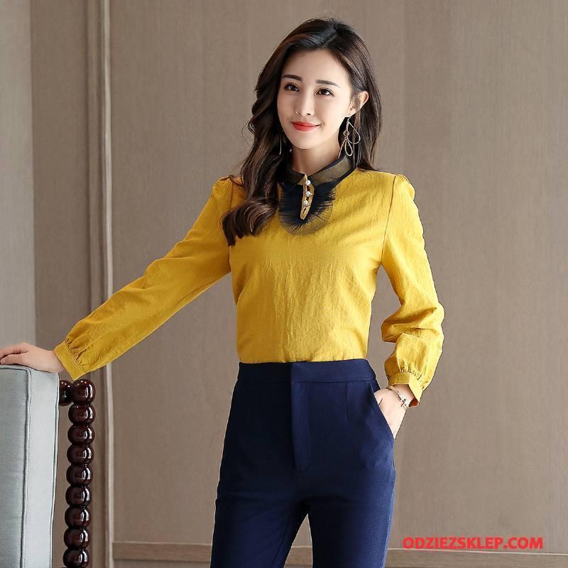 Damskie Bluzka Pullover Długi Rękaw Okrągły Dekolt Wiosna Slim Fit Moda Czysta Żółty Sprzedam