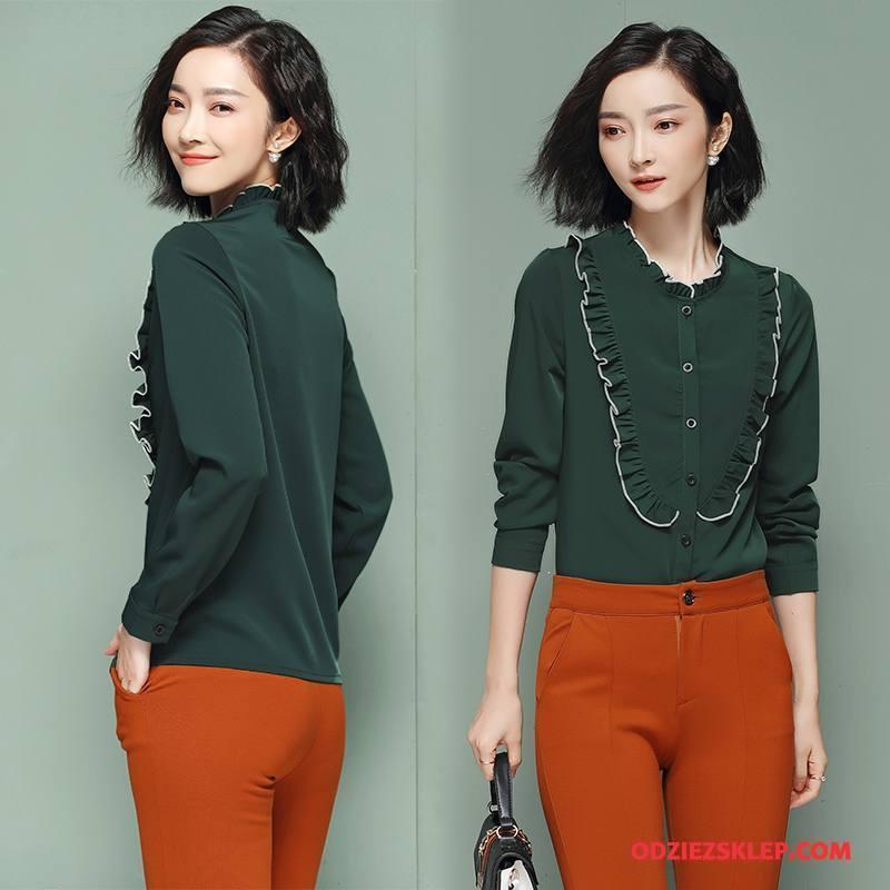 Damskie Bluzka Wiosna Cienkie Slim Fit Tendencja Świeży Eleganckie Zielony Sprzedam