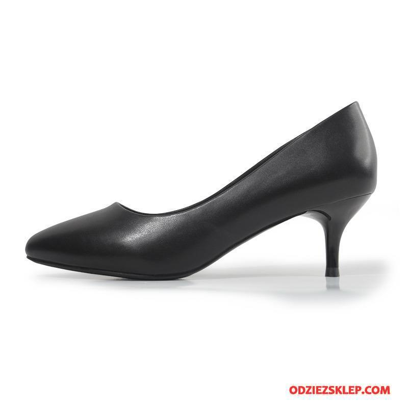 Damskie Buty Na Obcasie Do Biura 2018 Super Pojedyncze Buty Skórzane Buty Z Pracy Czarny Na Sprzedaż