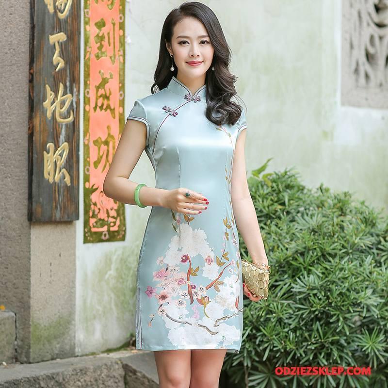 Damskie Cheongsam Gazy Lato Krótkie Krótki Rękaw Vintage Sukienka Niebieski Sklep