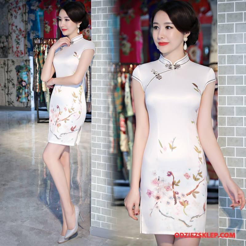 Damskie Cheongsam Gazy Slim Fit Sukienka Lato Tendencja Cienkie Czysta Biały Tanie