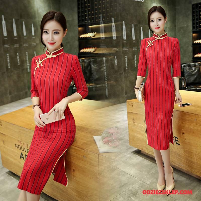 Damskie Cheongsam Jesień Cienkie Świeży Slim Fit Długie Moda Czysta Czerwony Sprzedam