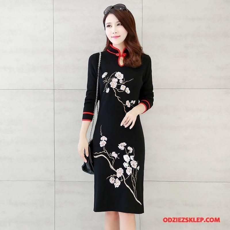 Damskie Cheongsam Jesień Młodzieżowa Casual Proste Popularny Moda Czarny Tanie