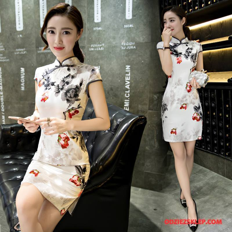 Damskie Cheongsam Każdego Dnia Moda Sukienka Lato Gazy Krótki Rękaw Biały Dyskont