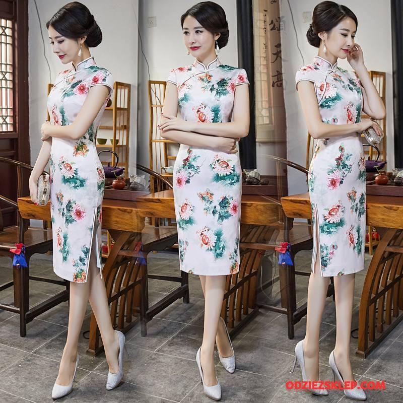 Damskie Cheongsam Moda Lato 2018 Sukienka Slim Fit Gazy Biały Sprzedam