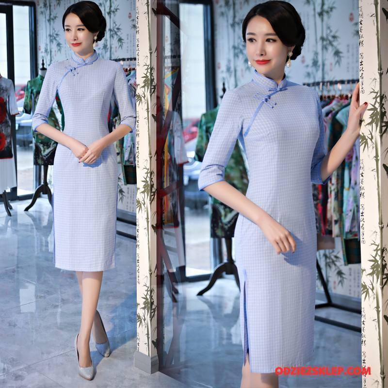Damskie Cheongsam Osobowość Cienkie Miasto Moda Eleganckie Młodzieżowa Czysta Niebieski Na Sprzedaż