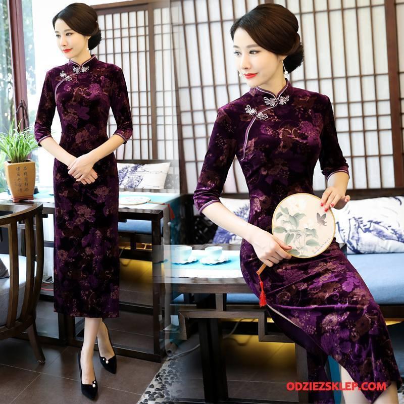Damskie Cheongsam Slim Fit 2018 Sukienka Moda Wiosna Eleganckie Fioletowy Online