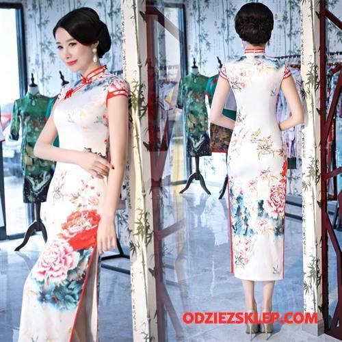 Damskie Cheongsam Sukienka Krótki Rękaw Gazy Długie Slim Fit 2018 Biały Tanie