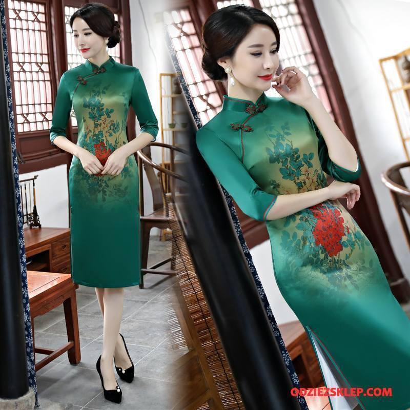Damskie Cheongsam Szerokie Moda Casual Wiosna Sukienka Swag Zielony Sprzedam