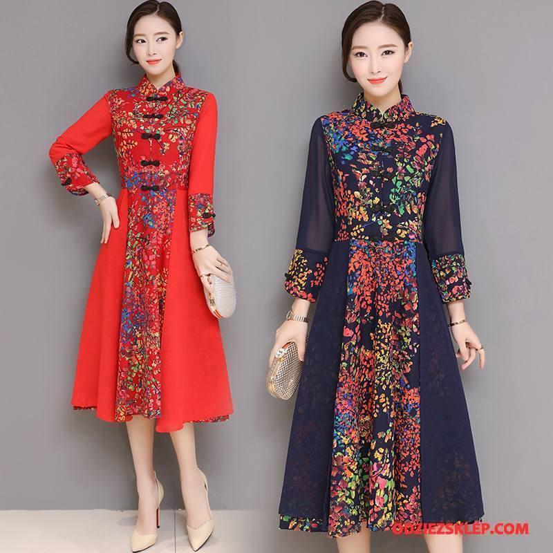 Damskie Cheongsam Tendencja Sukienka Casual Wiosna Swag Szerokie Czerwony Kup