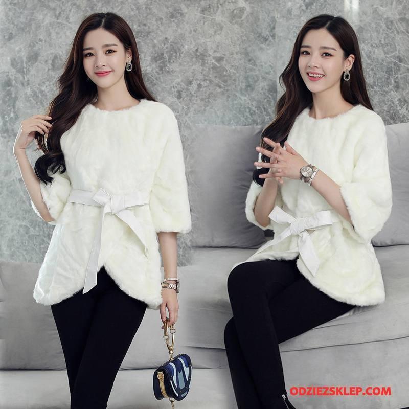 Damskie Futro Kurtka Skóra Eleganckie Moda Tendencja 2018 Casual Biały Sklep