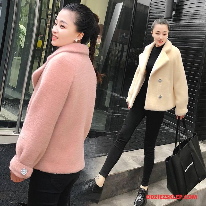 Damskie Futro Kurtka Wiosna Moda Proste Cienkie Skóra Slim Fit Różowy Sklep