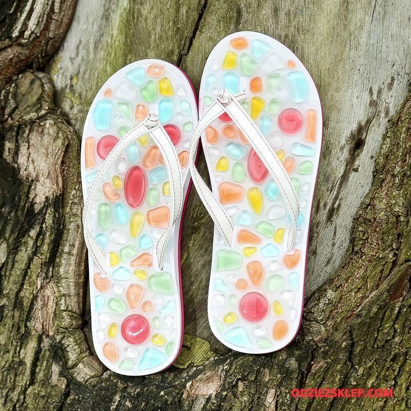 Damskie Japonki Plażowe Antypoślizgowe Lato Płaskie Buty Moda Biały Na Sprzedaż