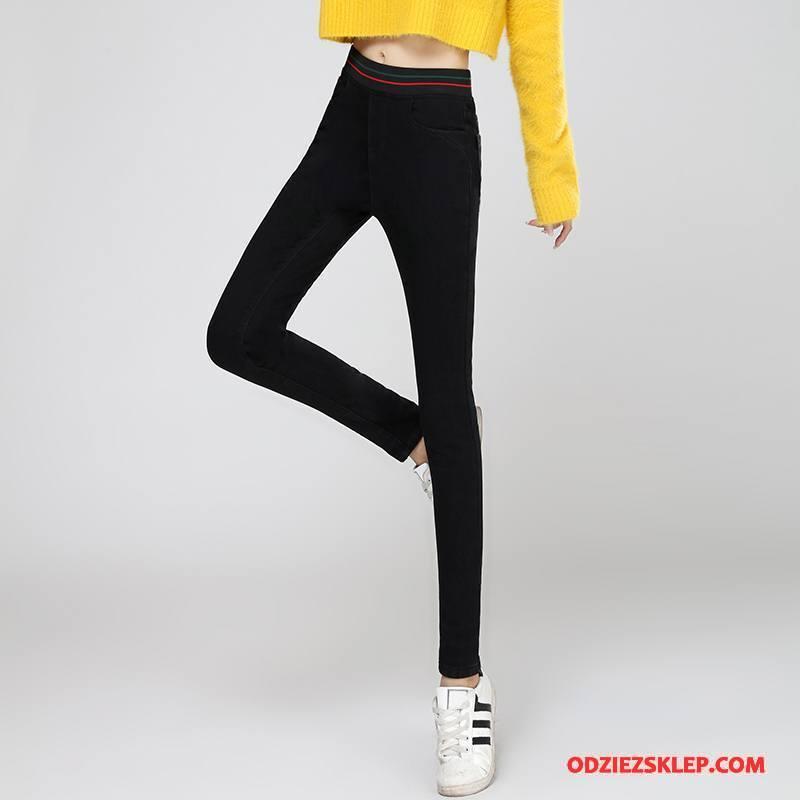 Damskie Jeansy Cienkie Moda Slim Fit Eleganckie Dla Grubych Kieszenie Czarny Online