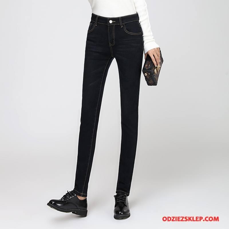 Damskie Jeansy Jesień Wysoki Stan Ołówkowe Spodnie Cienkie Dżinsy Moda Ciemno Czarny Sprzedam