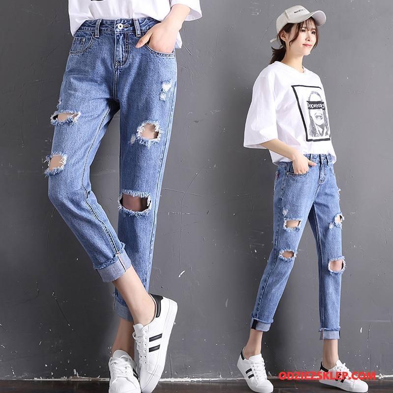 Damskie Jeansy Kieszenie 2018 Szerokie Moda Casual Wiosna Czysta Niebieski Na Sprzedaż