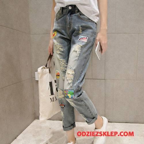 Damskie Jeansy Vintage Moda Wiosna Postrzępione Eleganckie 2018 Niebieski Na Sprzedaż