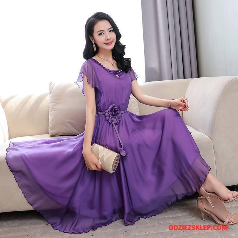 Damskie Jedwabna Sukienka 2018 Tendencja Proste Eleganckie Pullover Lato Fioletowy Na Sprzedaż