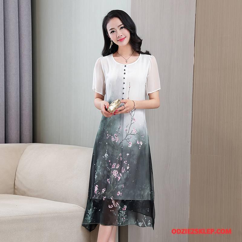 Damskie Jedwabna Sukienka Długie Krótki Rękaw 2018 Pullover Duże Okrągły Dekolt Biały Tanie