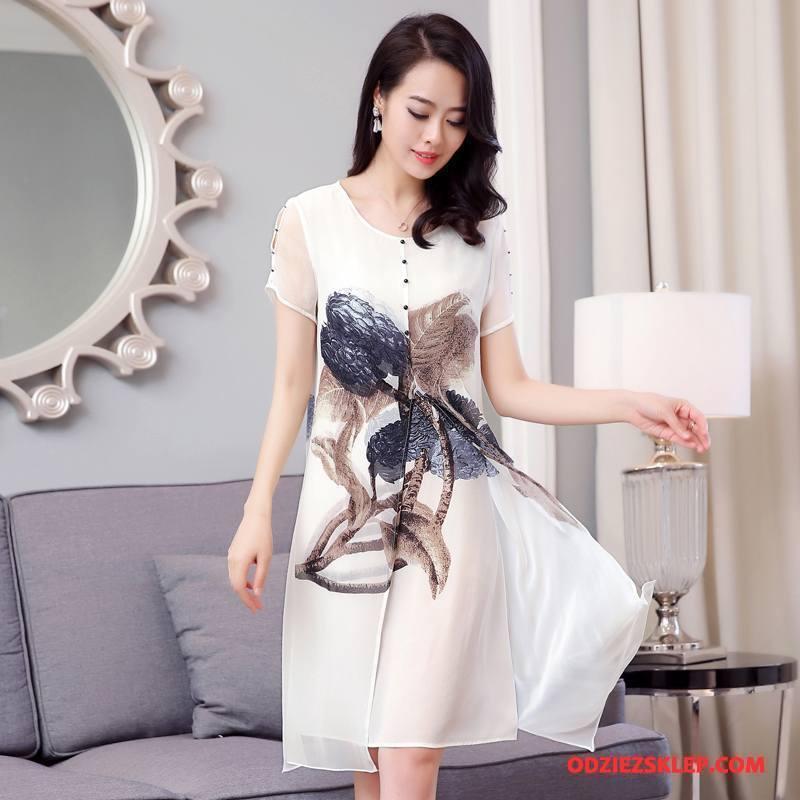 Damskie Jedwabna Sukienka Drukowana Krótki Rękaw Lato Kwiaty Długie Okrągły Dekolt Czysta Biały Na Sprzedaż