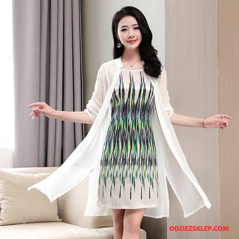 Damskie Jedwabna Sukienka Lato Eleganckie Długi Rękaw Cienkie Proste Piękny Czysta Biały Online