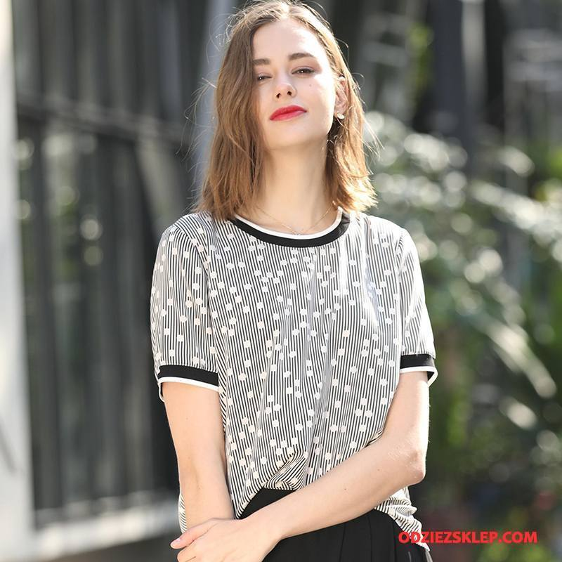 Damskie Jedwabna Sukienka Proste Krótki Rękaw Świeży Moda Tendencja Słodkie Szary Online