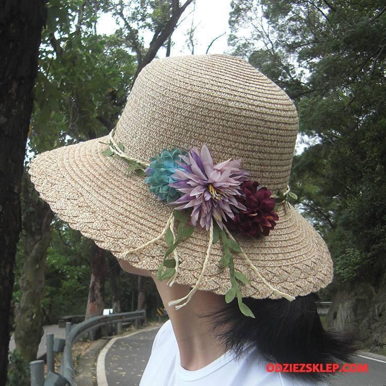 Damskie Kapelusz Słońce Kwiaty Składać Damska Lato Wielki Khaki Sklep