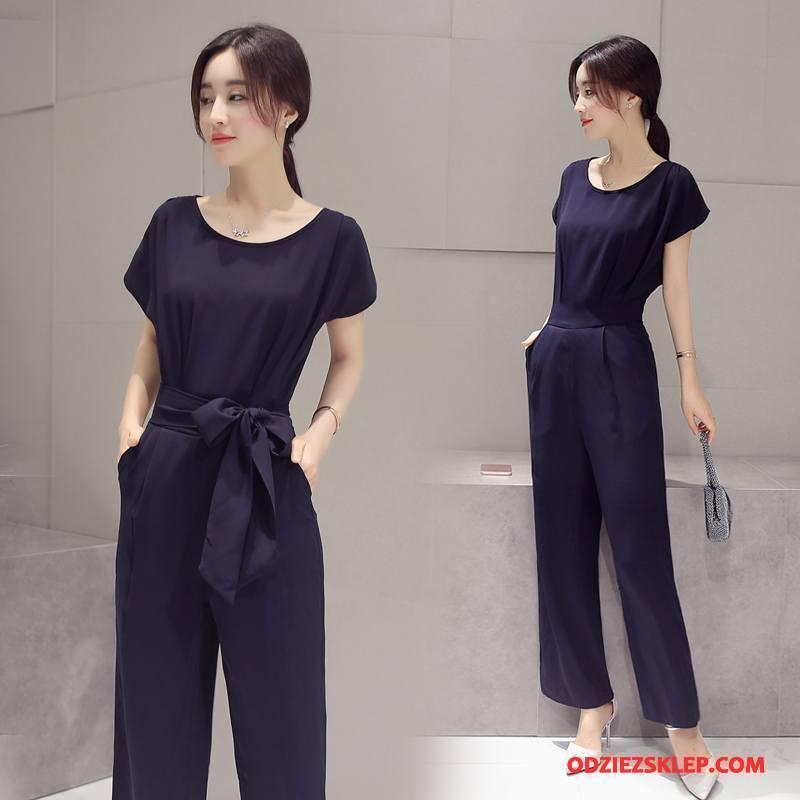 Damskie Kombinezon Moda Lato Spodnie Na Szelkach Proste Okrągły Dekolt Długi Rękaw Granatowy Czysta Online