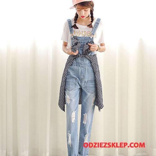 Damskie Kombinezon Vintage 2018 Wysoki Stan Moda Spodnie Na Szelkach Wiosna Jasny Niebieski Biały Tanie