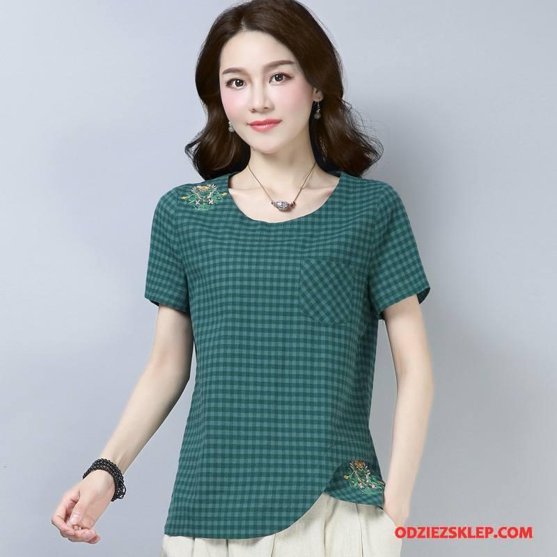 Damskie Koszulki 2018 Lato Okrągły Dekolt Slim Fit Kieszenie Bawełniane Zielony Sprzedam