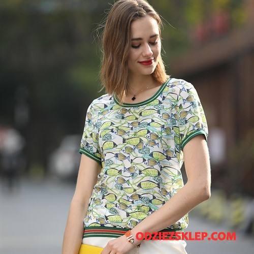 Damskie Koszulki Kwiaty Eleganckie Wiosna Moda Cienkie Szerokie Jasny Zielony Oferta