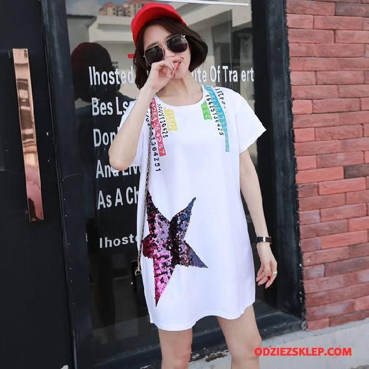 Damskie Koszulki Moda Cekinowa Długie Tendencja Casual Szerokie Biały Sprzedam