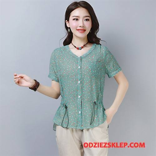 Damskie Koszulki Pullover Eleganckie Kwiaty Proste Krótki Rękaw Okrągły Dekolt Niebieski Tanie