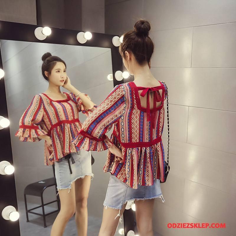 Damskie Koszulki Szycie Pullover Eleganckie Szerokie Koronkowe Flare Czerwony Sprzedam