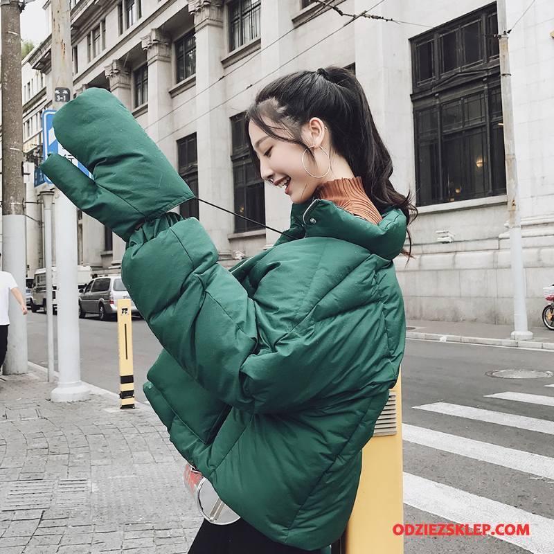 Damskie Kurtka Bawełniana Nietoperze Moda Ubrania Bawełniane 2018 Bawełniana Kurtka Zima Ciemnozielony Czysta Sprzedam