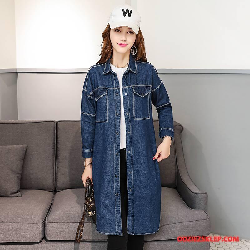 Damskie Kurtka Dżinsowa Płaszcz Kieszenie Moda Denim Cienkie Słodkie Czysta Niebieski Kup
