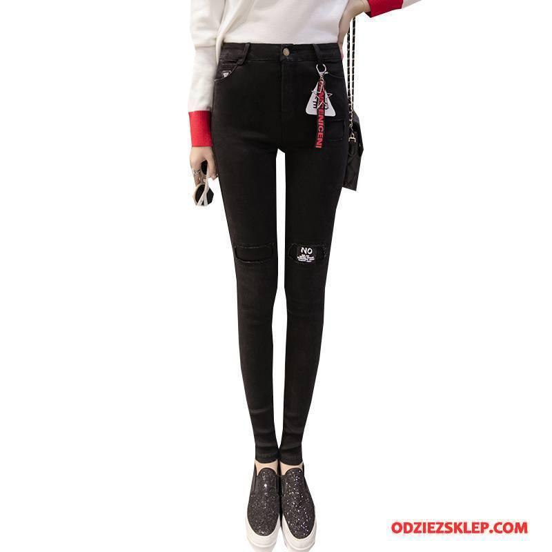 Damskie Legginsy Czyste Słodkie Casual Slim Fit Eleganckie Ołówkowe Spodnie Czarny Tanie