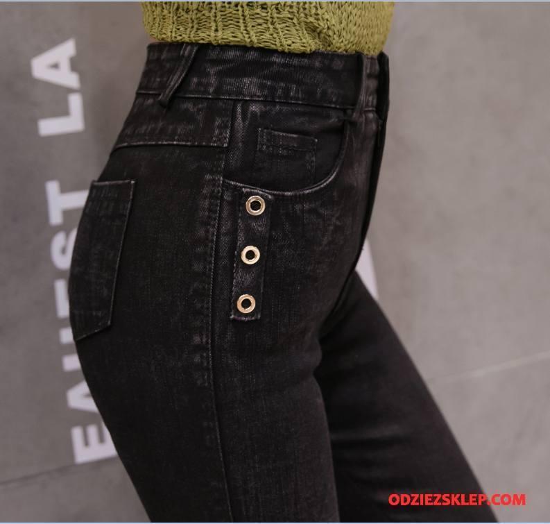 Damskie Legginsy Jesień Kieszenie Tendencja Eleganckie Cienkie Spodnie Czysta Czarny Online
