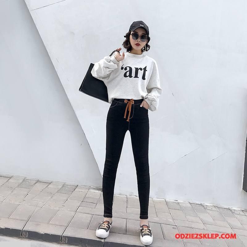 Damskie Legginsy Wiosna Casual Szerokie Moda Slim Fit Tendencja Czysta Czarny Online